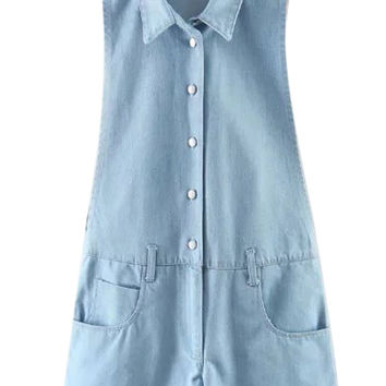 Blue Shirt Collar Letter Print Back Romper Playsuit