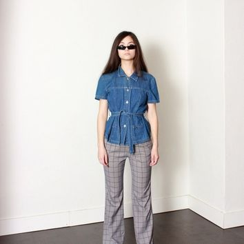 Houndstooth Plaid Grid Flare Trousers / L