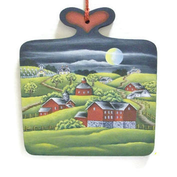 Hand Painted Folk Art Barn Scene On Wooden Paddle