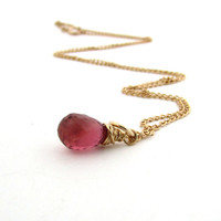 Pink tourmaline necklace, October birthstone jewelry, raspberry pink gemstone pendant, gold tourmaline jewelry, pink tourmaline pendant