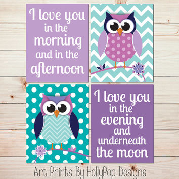 Owl Nursery Wall Art Baby Girl Nursery Wall Art Owl Nursery Decor Purple Aqua Turquoise Nursery Girls Room Wall Art Nursery Artwork #1131