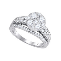 Diamond Fashion Bridal Ring in 14k White Gold 1.5 ctw