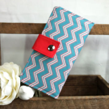 Chevron print handmade folded womens wallet, coin pouch, bill slots, card slots