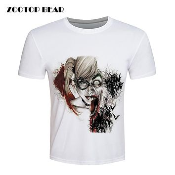 Harley Quinn Tops Joker Printed T-shirt Men Suicide Squad T-Shirt Batman White Fitness Skate Cool Brand Clothing New ZOOTOP BEAR