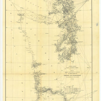Sketch Showing The Progress Of The Survey On The Coasts Of Oregon And Washington From Tillamook Bay To Tho Boundary