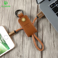 FLOVEME IOS Micro USB Type C USB Cable Genuine Leather Winder FastCharger For iPhone 7 6 6S Plus Samsung S8 S7 S6 Cable Key Ring