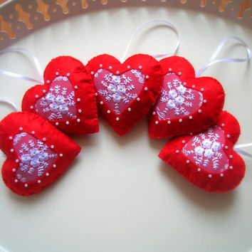 Handmade,Romantic lace, red hearts for Valentine's Day-scented soap,5 piece