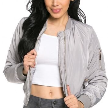 Classic Flight Bomber Jacket in Light Gray (Plus Sizes Available)