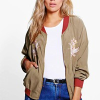 Plus Gabriella Embroidered Bomber Jacket