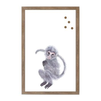Baby Jungle Animals Monkey Rustic Brown Frame