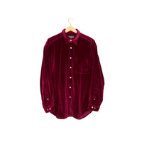wine velvet shirt - plush & soft! - long sleeve button down - mens large