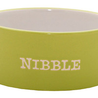 "One Kings Lane - Pet Shop - S/2 Green ""Nibble"" Small Bowl"