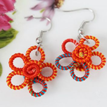 Colorful line hand-knitted, double-sided flower, delicate and lovely earring