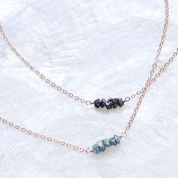 Dainty Raw Diamond Bar Necklace