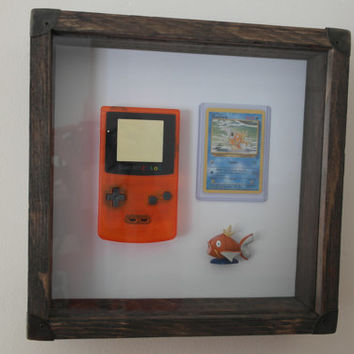 Vintage looking handmade Trio Frame - Gameboy shell, Magikarp figure and Pokemon card
