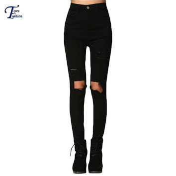 Trousers For Women 2016 Fitness Long Jeans Spring Casual Plain Black Mid Waist Button Fly Skinny Ripped Denim Pants