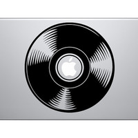Vinyl Record Music- Macbook Vinyl Decal Sticker - Black / White / Blue