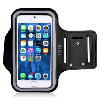 PEAPGQ6 Water Resistant Cell Phone Armband: 5.2 Inch Case for iPhone 8, 7, 6, 6S, SE, 5, 5C, 5S, and Galaxy S5, Google Pixel - Adjustable Reflective Velcro Workout Band, Key Holder & Screen Protector
