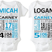 Identical Twins Fraternal Twins Boys Baby Gift:  Birth Stats Onesuit Birth Announcement Nursery Art Photo Shoot Prop Preemie Size Available!
