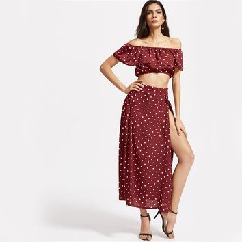 Women Sexy Ruffle Vintage Crop Top With Maxi Skirt  Summer  Casual Two Piece Set