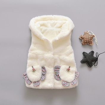 2017 Autumn Winter Pink White Warm Hooded Infant Baby Girls Fur Vest With Flowers Pockets Girl Waistcoat Child Outerwear JW6166