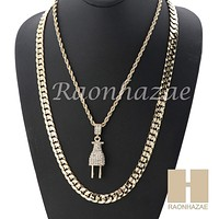 """MEN ICED OUT PLUG ROPE CHAIN DIAMOND CUT 30"""" CUBAN LINK CHAIN NECKLACE SET SS02G"""