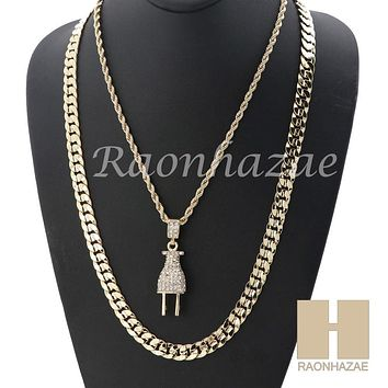 "MEN ICED OUT PLUG ROPE CHAIN DIAMOND CUT 30"" CUBAN LINK CHAIN NECKLACE SET SS02G"