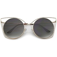 Women's Oversize Round Laser Cut Cat Eye Sunglasses C216