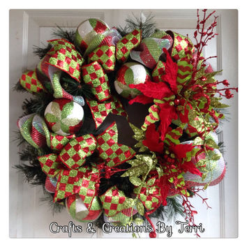Pine Christmas Wreath - Red and Green Wreath - Christmas Wreath - Holiday Wreath - Christmas Decor - Pine Wreath - Door Decor - Ready To Go