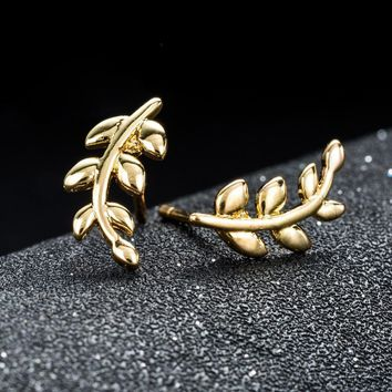 Leaf stud post earring branch ear climber crawler for women