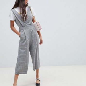 Miss Selfridge jumpsuit in gray check | ASOS