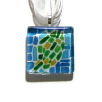Watercolor Pendant Leaf Mosaic Pattern Glass Tile