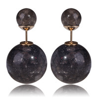Gum Tee Tribal Earrings - Stone Black