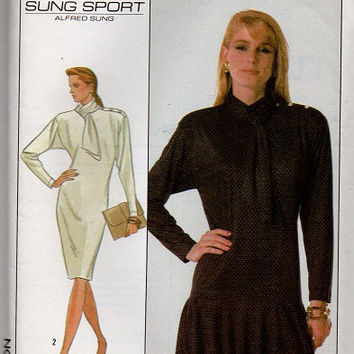 Simplicity 80s Sewing Pattern High Neck Dress Drop Waist Scarf Collar Raglan Tapered Sleeves Designer Alfred Sung Bust 36