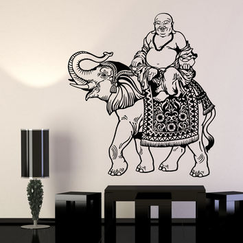 Vinyl Wall Decal Budai Indian Elephant Hinduism Asian Style Buddha Stickers Unique Gift (1154ig)