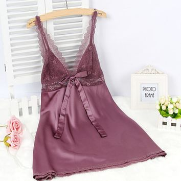 Women Lace Mesh Satin Lingerie Sleepwear Robe Ladies Sexy V Neck Babydoll Silk Nightgowns Nightwear Night Dress chemise de nuit