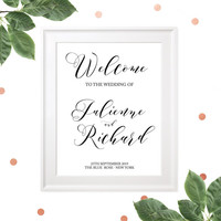 Wedding Welcome Poster-Chic Glitter Calligraphy Style Wedding Welcome Sign Printable-Navy Blue Wedding Welcome-Rustic Wedding DIY Sign-