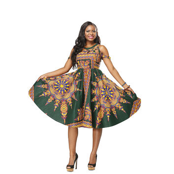 Women Fashion Character African Printed Dresses 100%Cotton Wax Print Dress Of  the Shoulder Ankara accept custom-made