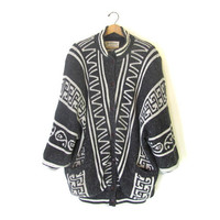 STOREWIDE SALE... 80s tribal coat. sweater coat. oversized sweater. geometric sweater coat.