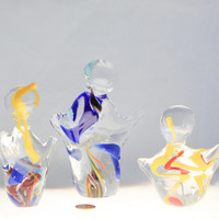 Unique Hand Made Glass Art Sculpture set of 3 Dancing Figurine Blue Orange Red Yellow Clear Swirled Colorful Figurines