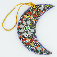 Beaded Moon Ornament