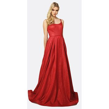 Long A-Line Glitter Prom Gown Red Double Spaghetti Straps