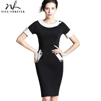 Nice-forever Ladies Office elegant Women Tunic Plus Size Work Dress button Short Sleeve Bodycon Business Pencil Midi Dress 832