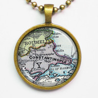 Vintage Map Necklace - Constantinople, Istanbul of Turkey - Vintage Map Series