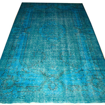 Sale Blue Color Overdyed Handmade Rug  with Medallion Design 9'3'' x 5'9'' feet