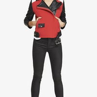 COLOR BLOCK MOTO JACKET from EXPRESS
