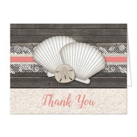 Seashell Lace Wood and Sand Coral Beach Thank You Cards
