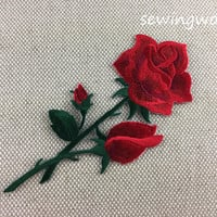 Iron-on Patch, Rose Flower Patch, Embroidered Patch for Jeans, Backpack
