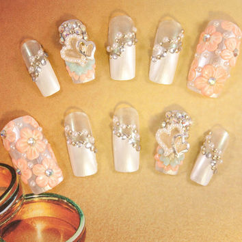 Wedding Fake Nails - Darling Bride Wedding Nail Art Kit - 3D false fake press-on nail art - Japanese Nail Art - 3D Acrylic Nail Art