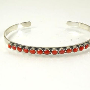 Betty Yazzie Red Coral Cuff Bracelet Sterling Silver Petit Point BY Signed Native American Tribal Southwestern Vintage Jewelry 70s Boho Gift